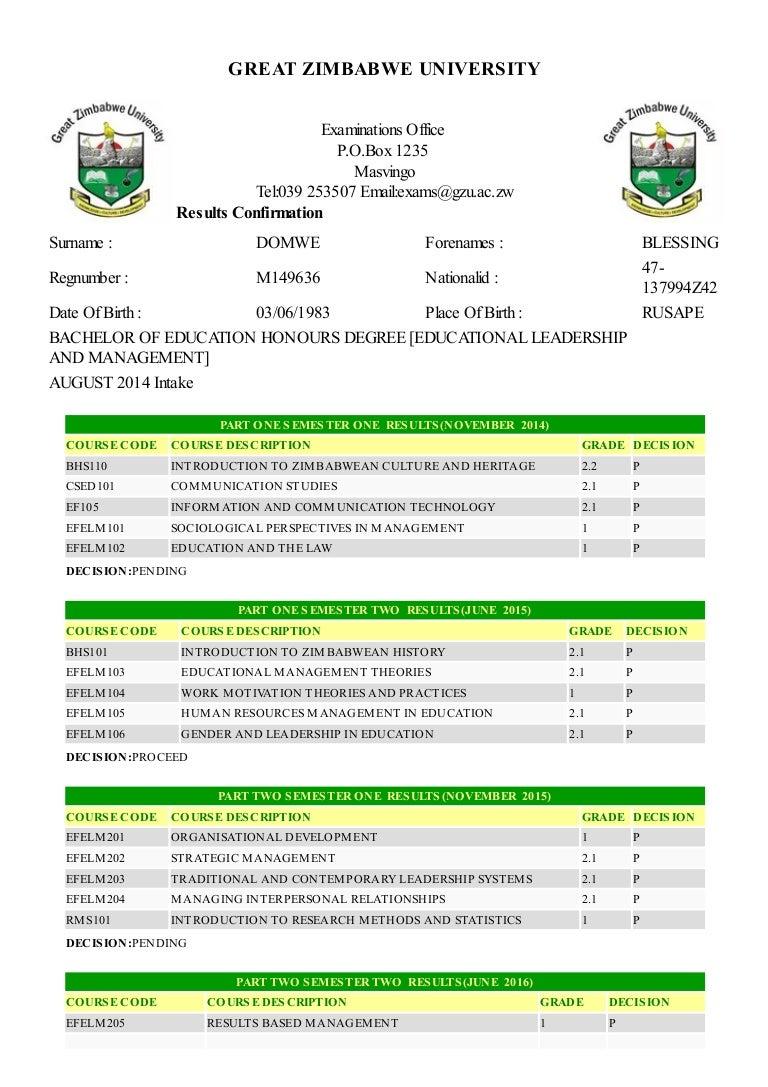 Domwe Blessing GZU Transcript