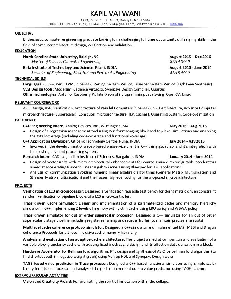 resume comp arch