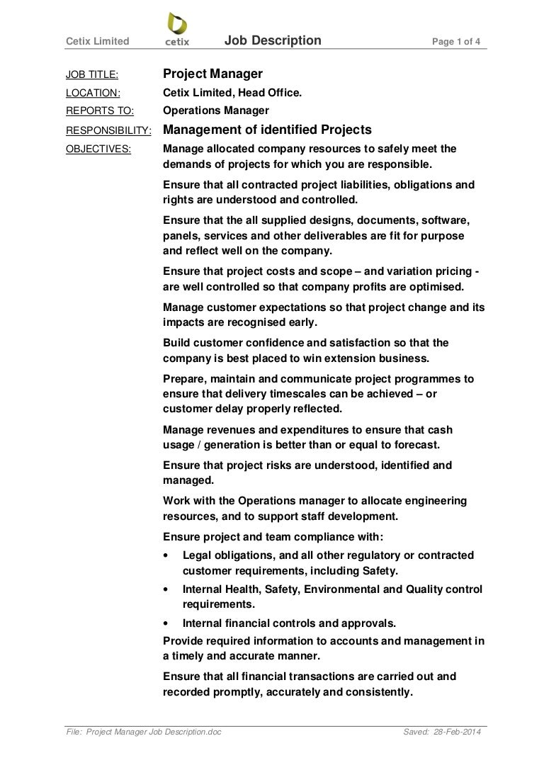 Project Manager Job Description – Quality Control Job Description
