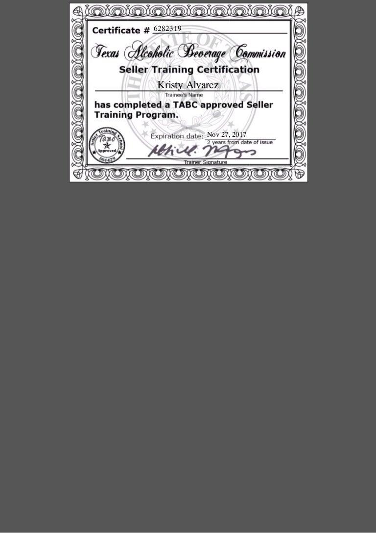 Tabc Certification 2015