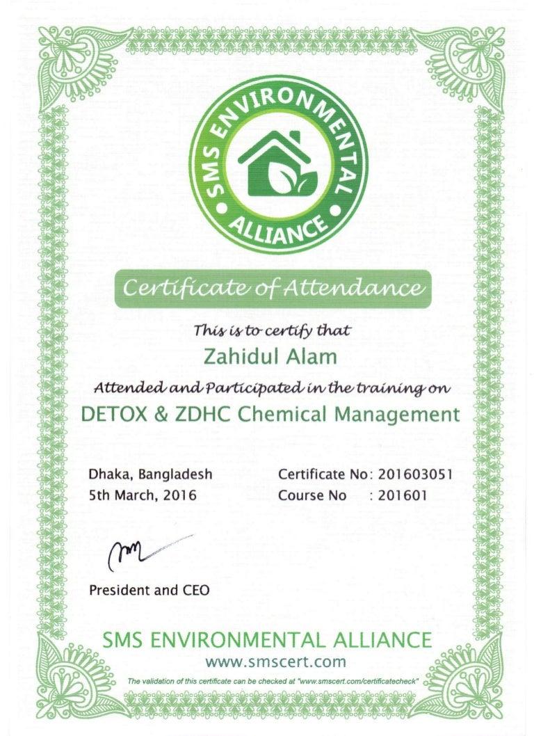 Detox Amp Zdhc Chemical Managment Training Certificate