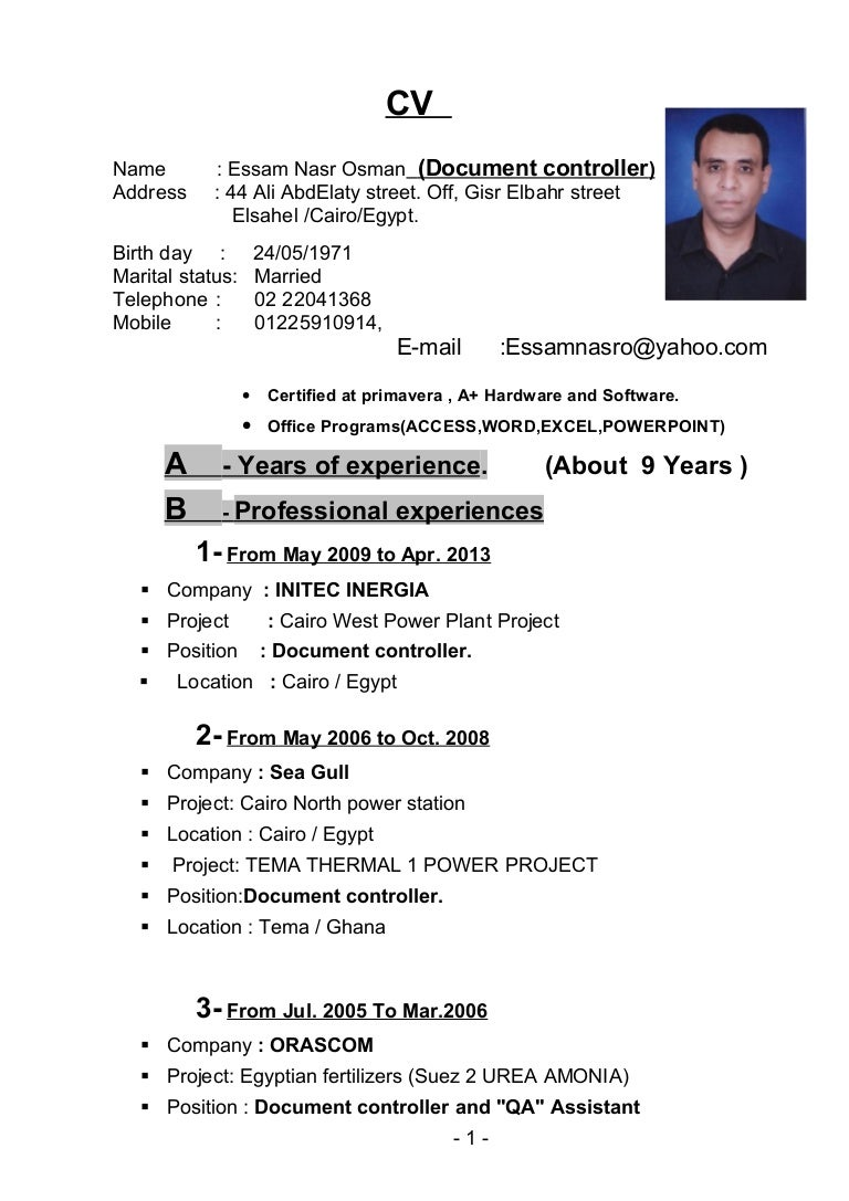 sample resume for document controller sap materials management sample resume for document controller essam nasr document controllerc