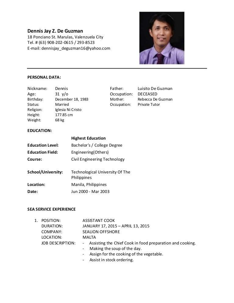 oil rig dp4 resume - Chief Steward Resume
