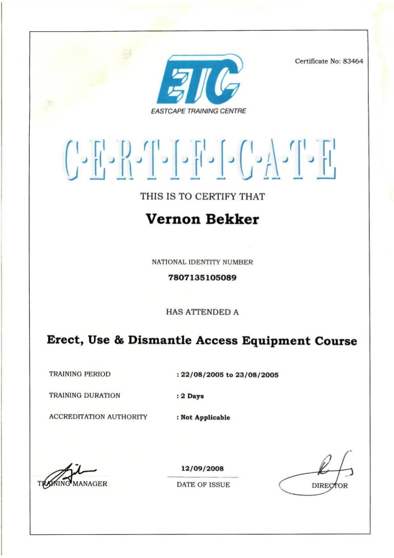 Vkker etc erect use dismantle access equipment certificate 1betcityfo Images