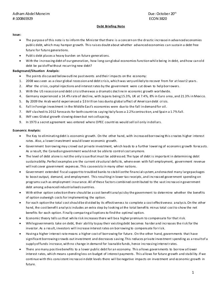Briefing Note Debt Edited
