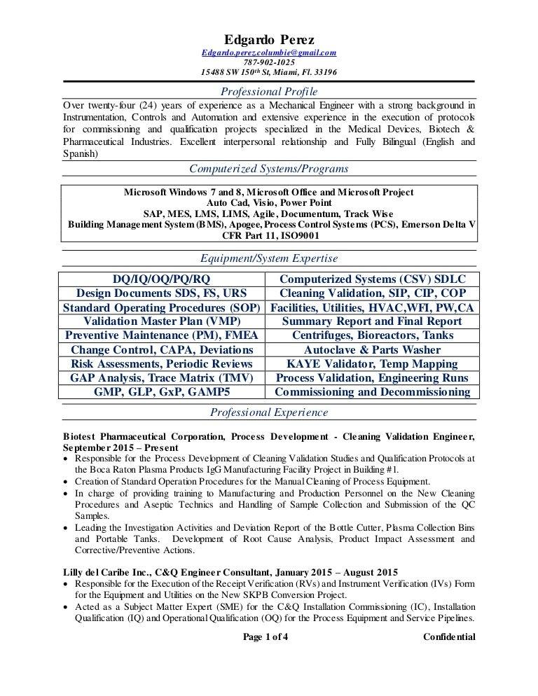 edgardo perez resume 2qtr 2016 - Process Validation Engineer Sample Resume