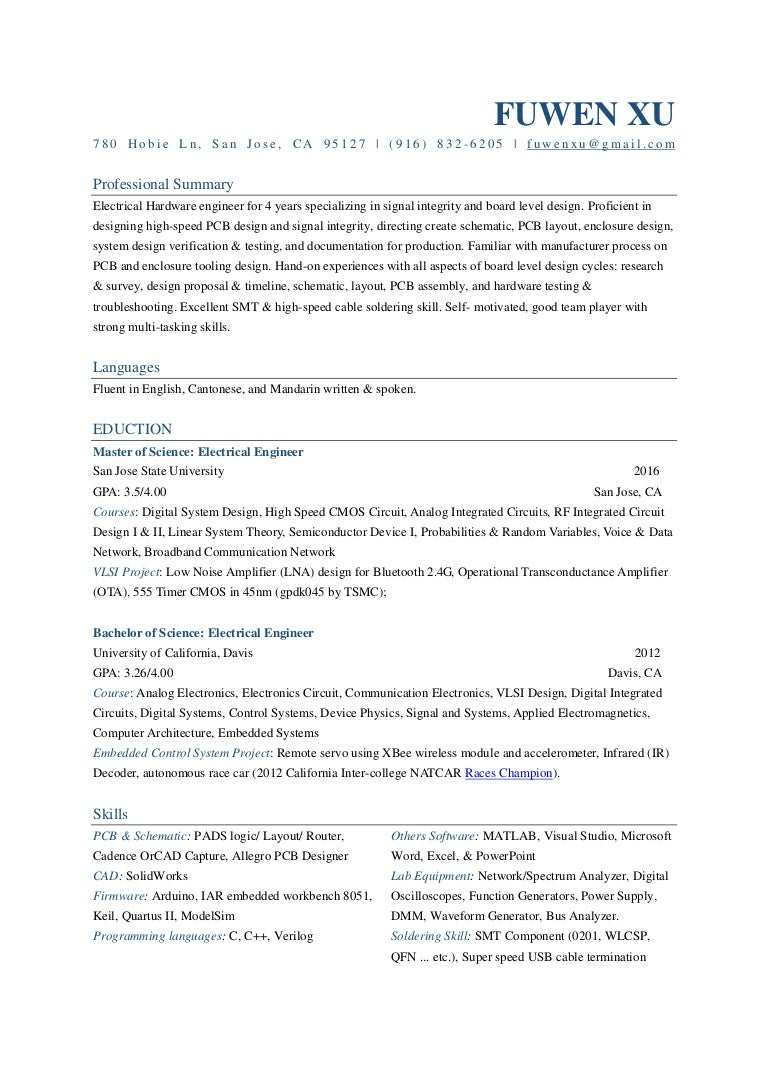 Fuwen Xu Resume Electronic Circuit Design Job Description