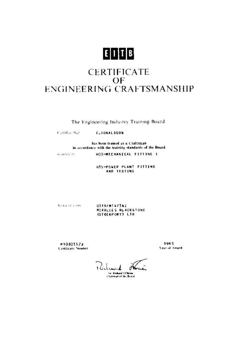 Certificate of engineering craftmanship 1betcityfo Images