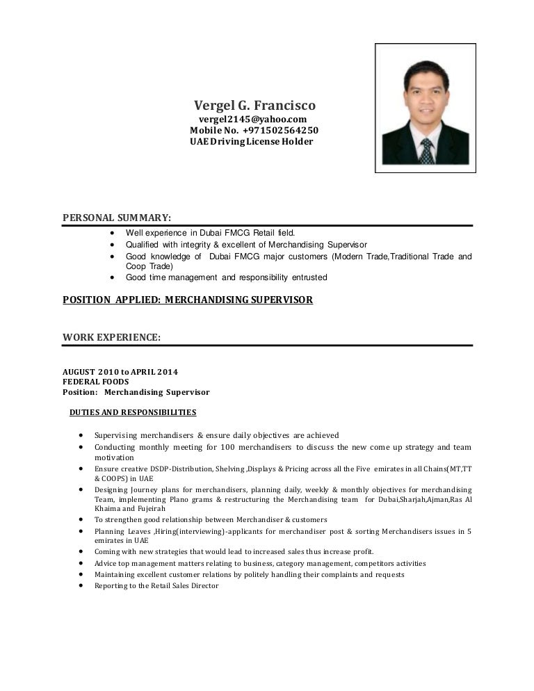 vergel cv merchandising supervisor - Fmcg Resume Sample