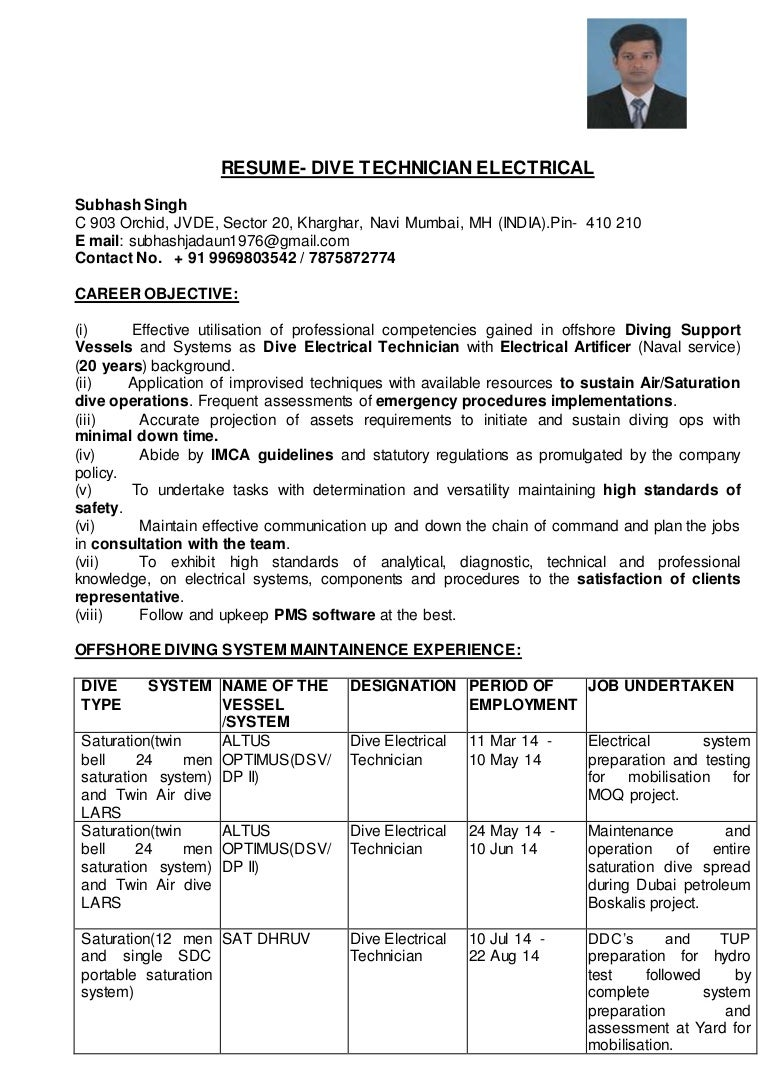 DIVE ELECTRICAL TECHNICIAN RESUME-SUBHASH SINGH