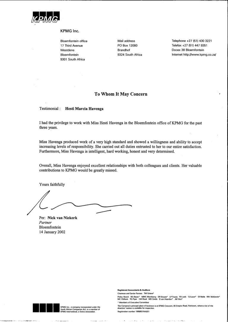 Kpmg  Reference Letter  Nick Van Niekerk