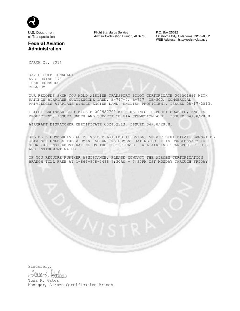 CAAC-FCF, FAA Certification Verification Letter of March 23 2014 for …