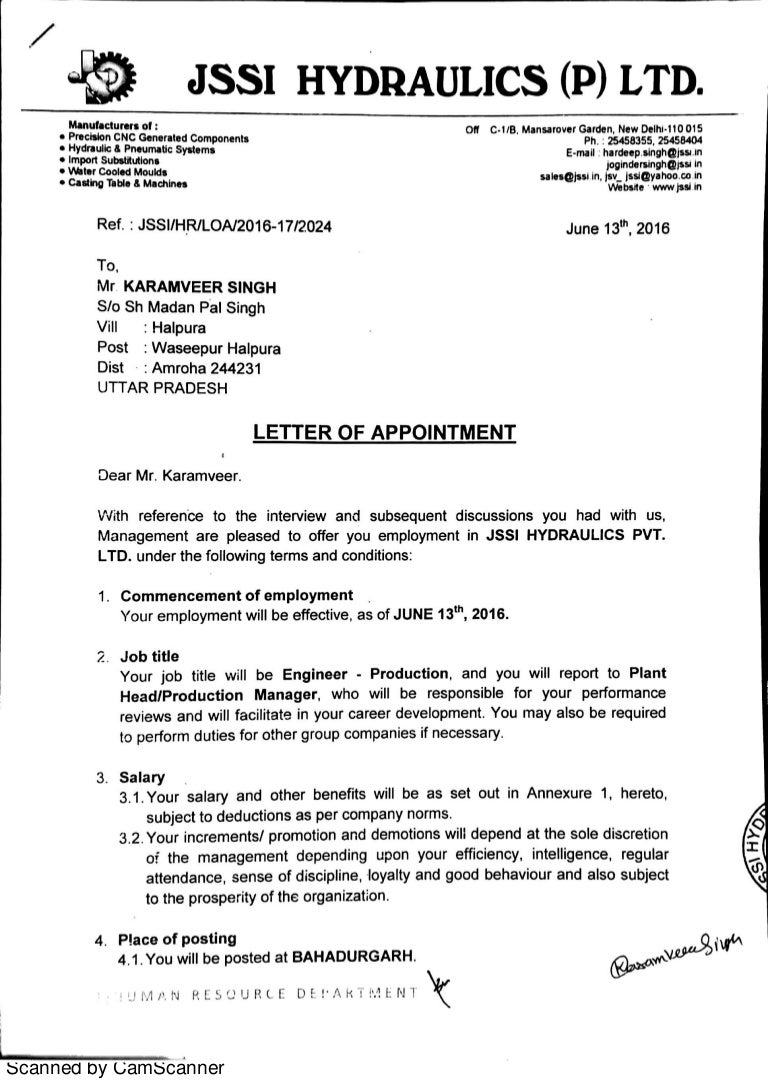 letter appointment sample appointment letter 6106