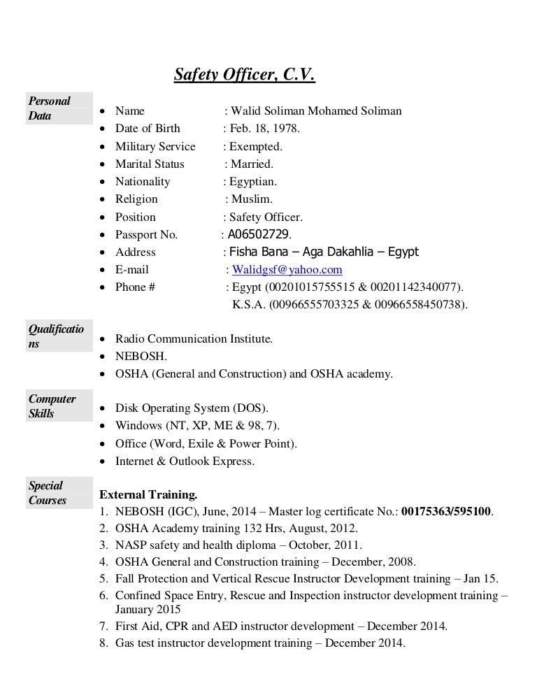 safety officer cv exolgbabogadosco - Safety Manager Resume