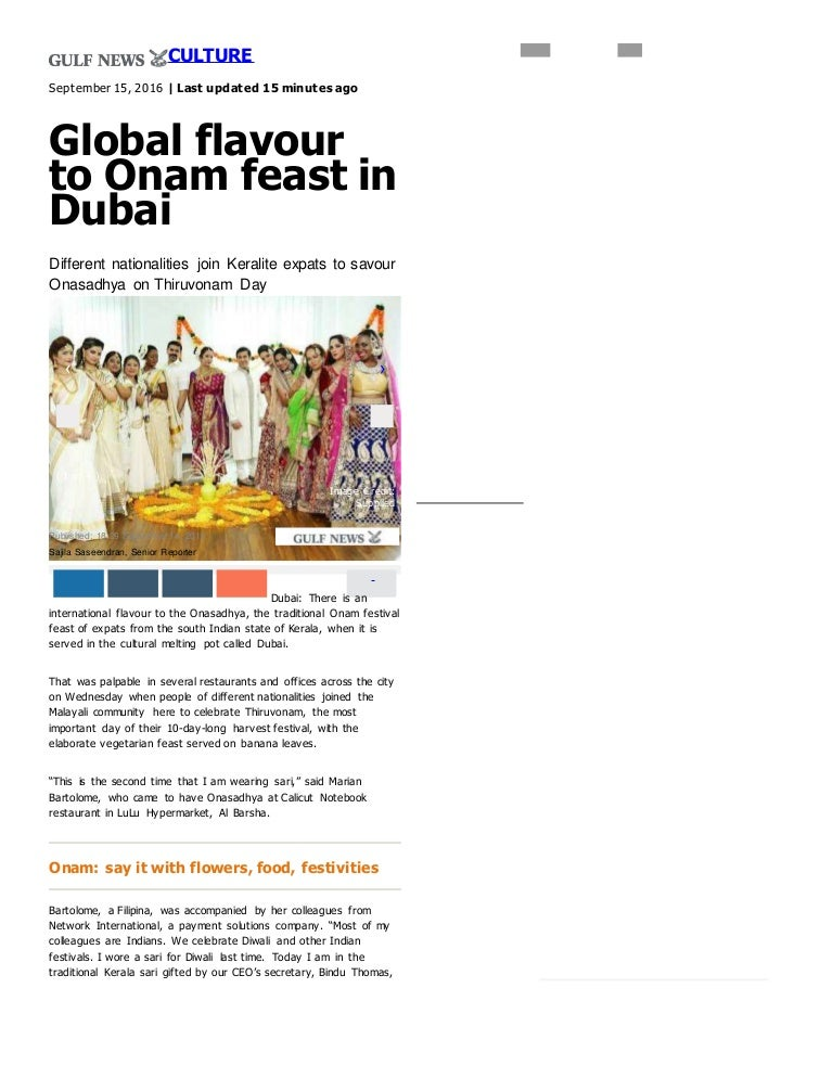 Global flavour to Onam feast in Dubai _ GulfNews com