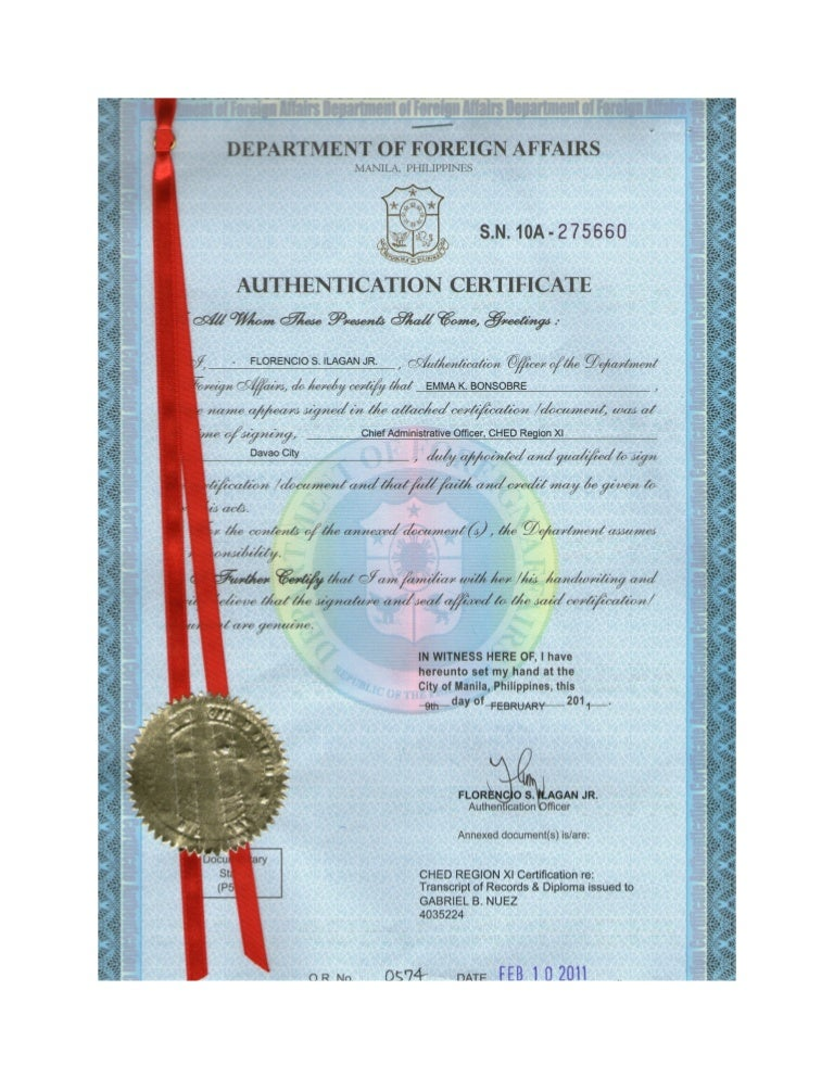 3 Certificate Of Authentication And Verification Cav