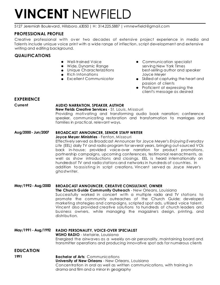 Voice Over Resume Template Urgup Kapook Co
