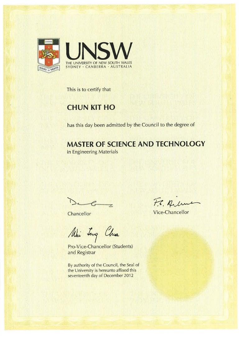 Unsw Certificate Msctech