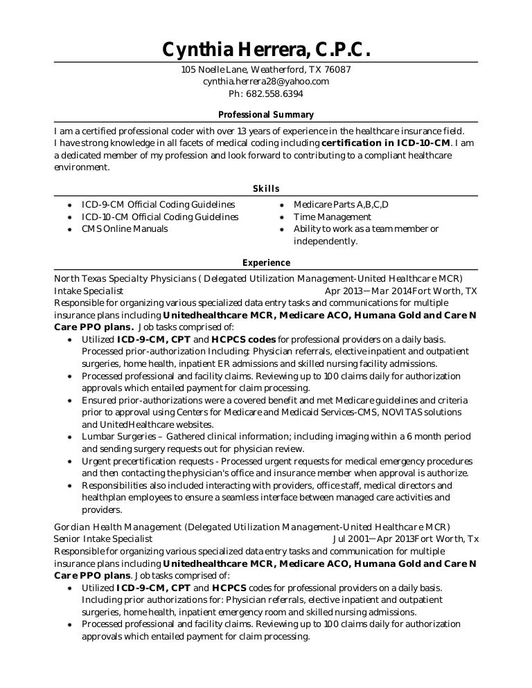 04 12 15 resume with icd 10 cm certification