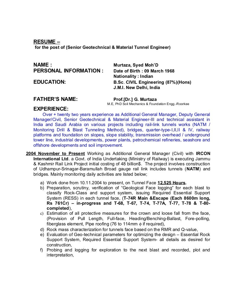 resume senior geotechnical material natm tunnel engineer 21032015 - Geotechnical Engineer Sample Resume