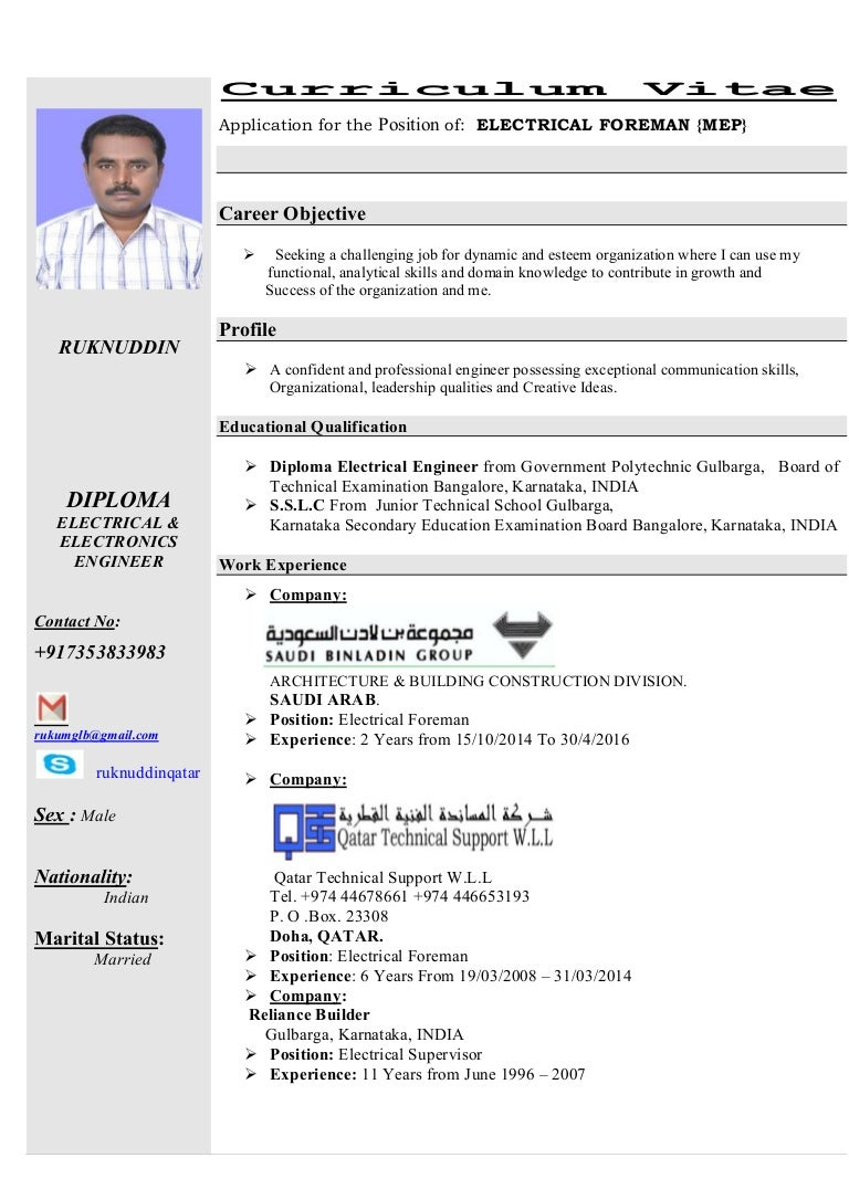 electrical foreman cv 10042016