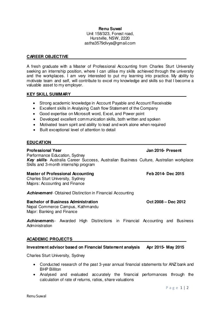 resume of placement