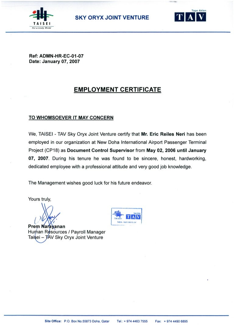 Oryx jv employment certificate sky oryx jv employment certificate 1betcityfo Images