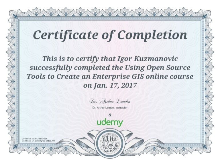 Certificate Of Completion Using Open Source Tools To Create An Ente