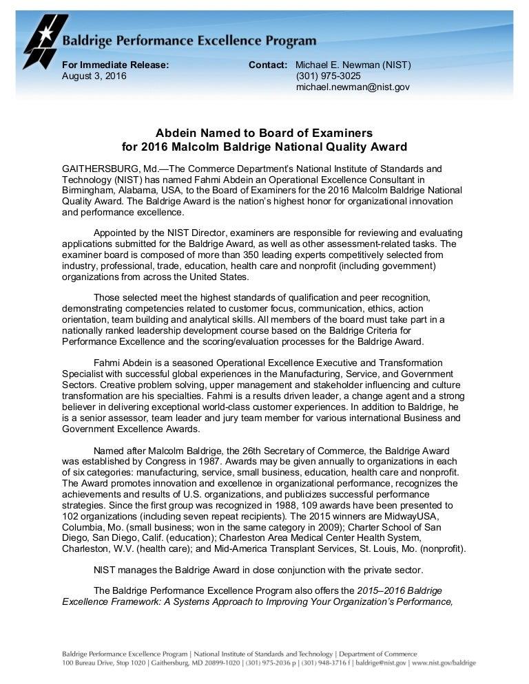 2016 Baldrige Examiner Fahmi Abdein News Release 2