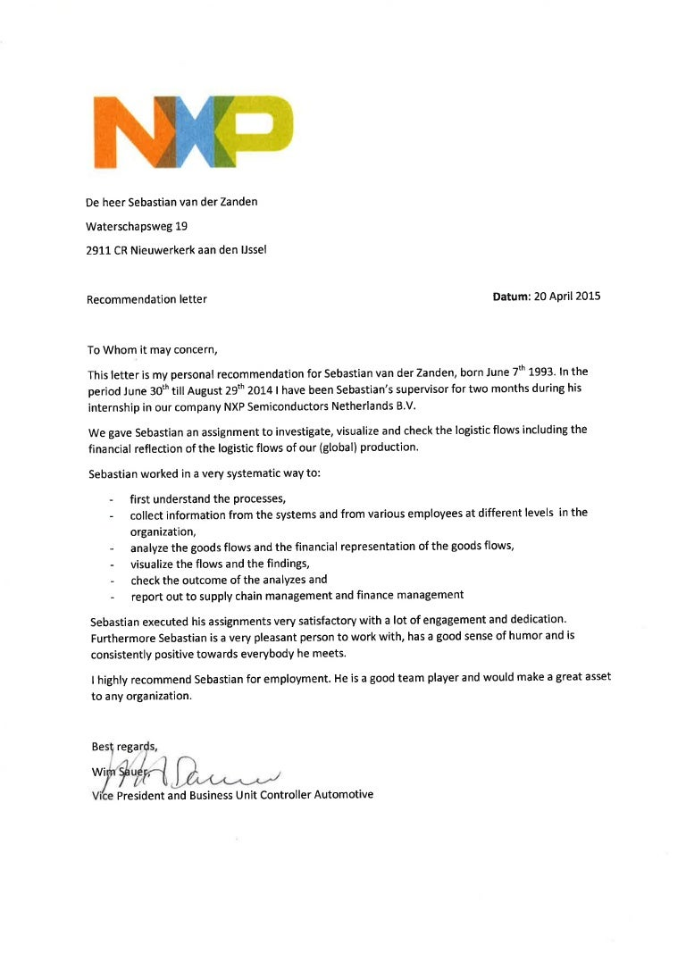 letter of recommendation nxp
