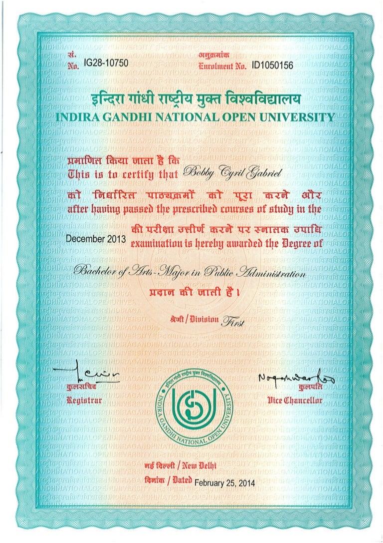 Ignou degree certificate sample gallery certificate design and ignou degree certificate sample yelopaper Gallery