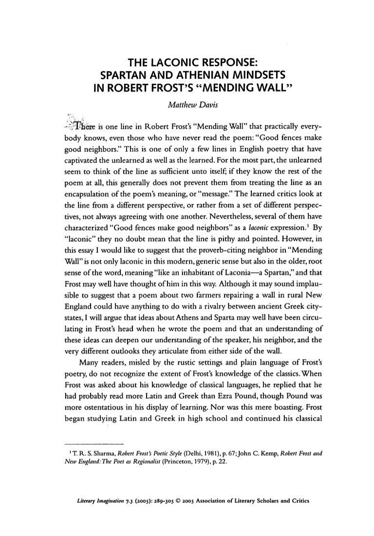 How To Write A Good English Essay Mending Wall Essay Mending Wall Essay Laconic Response Example Epik  English Essay On Terrorism also Purpose Of Thesis Statement In An Essay Mending Wall Essay  Underfontanacountryinncom Poverty Essay Thesis
