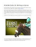 Horse racing betting golden rules taxes on sports betting winnings