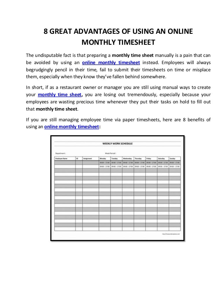 8 great advantages of using an online monthly timesheet