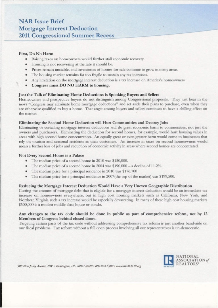 Second Home Mortgage Interest Deduction 2020.8 Nar Issues Brief0001