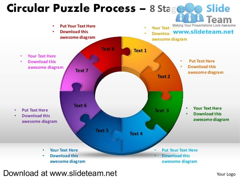 8 pieces pie chart circular puzzle with hole in center process powerp…, Powerpoint templates