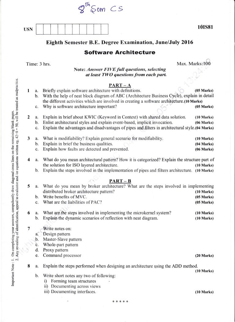 Architecture Design Question Paper 8th semester (june-2016) computer science and information science eng…