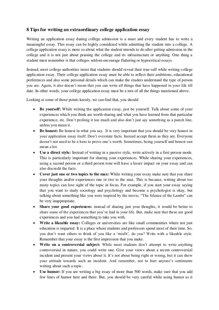 Texas College Essay Topics Yelommyphonecompanyco 8tipsforwritinganextraordinarycollegeapplicationessay 140513062843 Phpapp01 Thumbnail 4