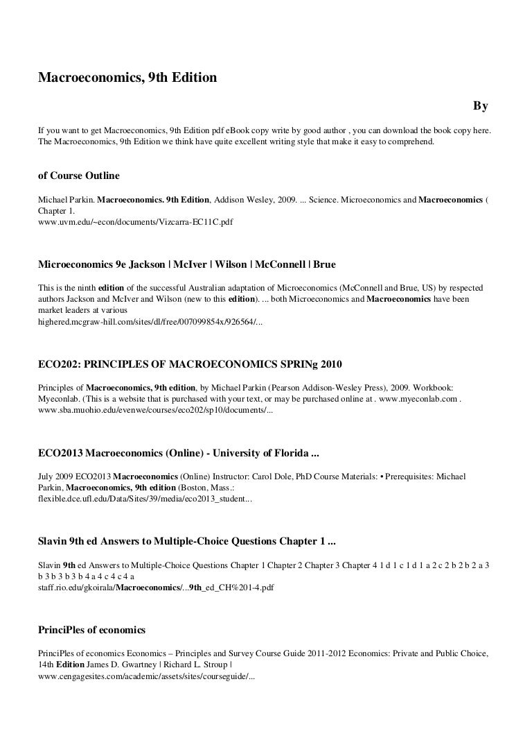 Macroeconomics Parkin 11th Edition Pdf