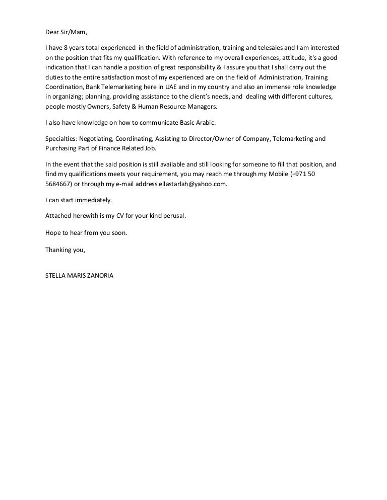 Telemarketing Cover Letter
