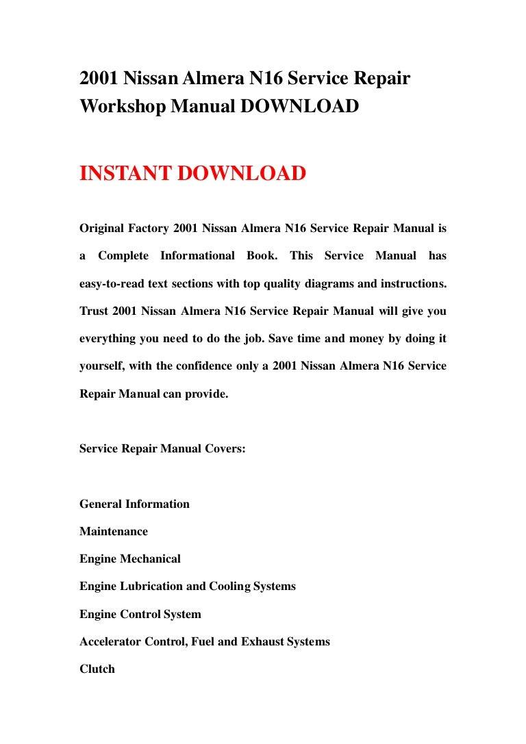 2001 Nissan Almera N16 Service Repair Workshop Manual Wiring Diagram 9 130125235915 Phpapp02 Thumbnail 4cb1359158391