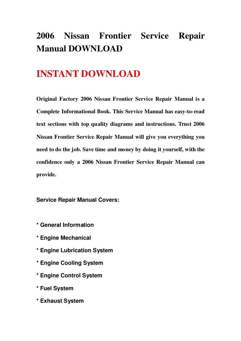 2006 nissan frontier service repair manual download rh slideshare net 2005 nissan frontier service manual pdf 2005 nissan frontier service manual pdf