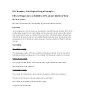 chemistry lab report example college