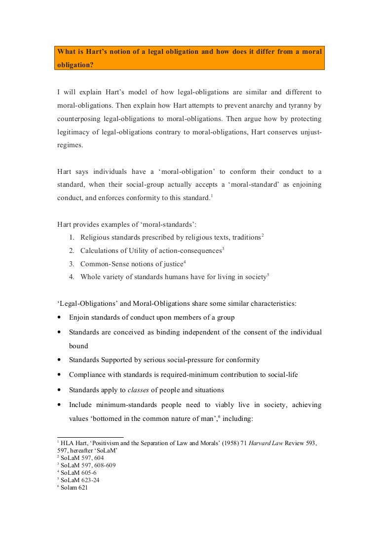 hart essay on legal obligations and moral obligations and un