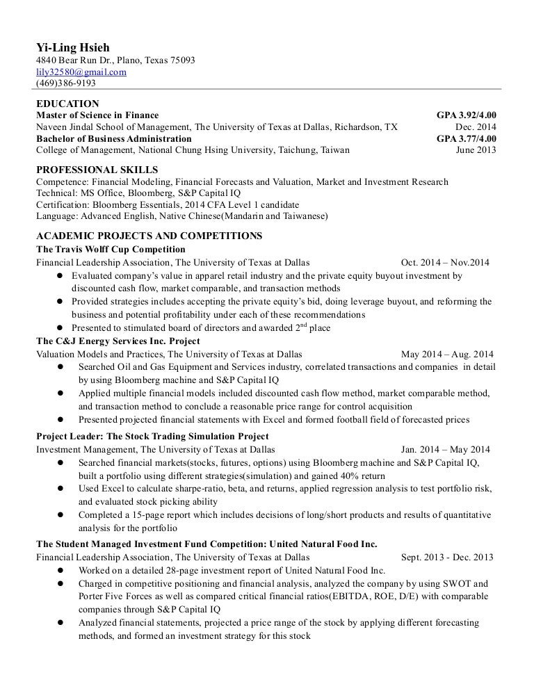 Yi Ling Hsieh Resume