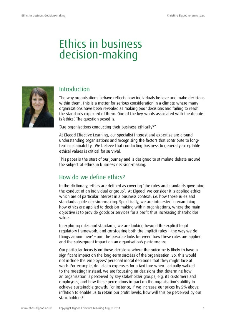 ethics in business decision making 2014