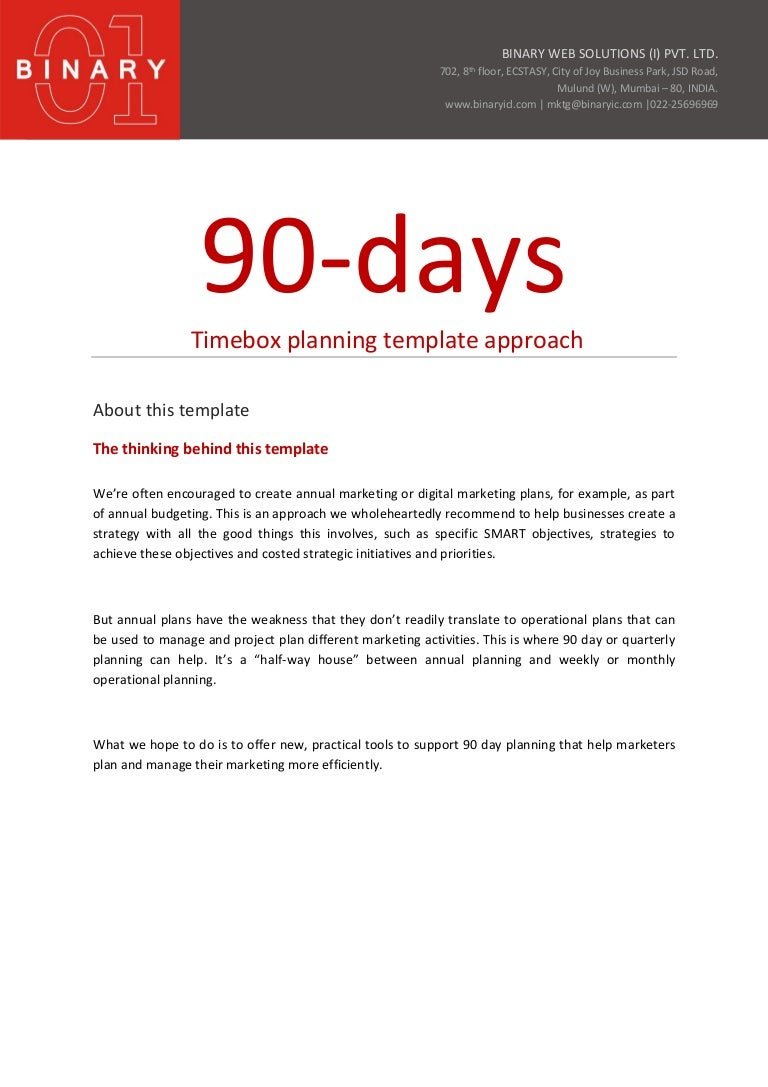 90 day Planning Template Approach – Sample 30 60 90 Day Plan