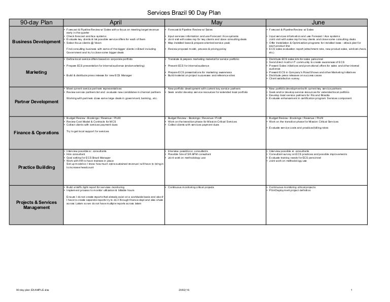 90 Day Plan Example - Services Business Unit