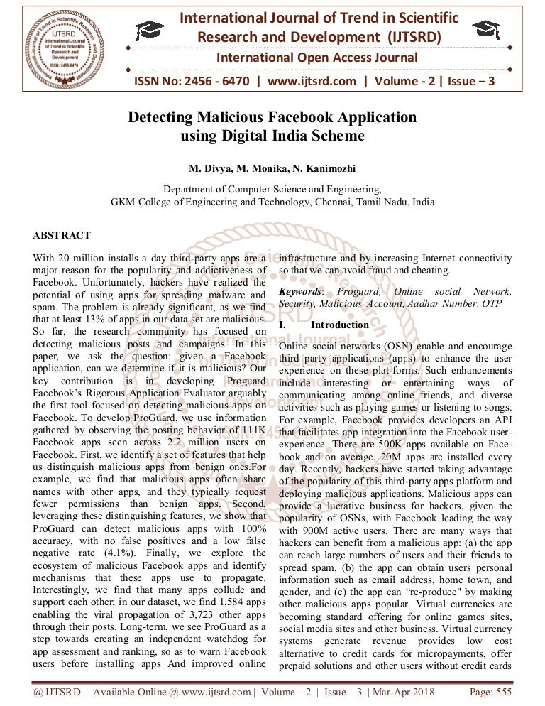 Detecting Malicious Facebook Application using Digital India