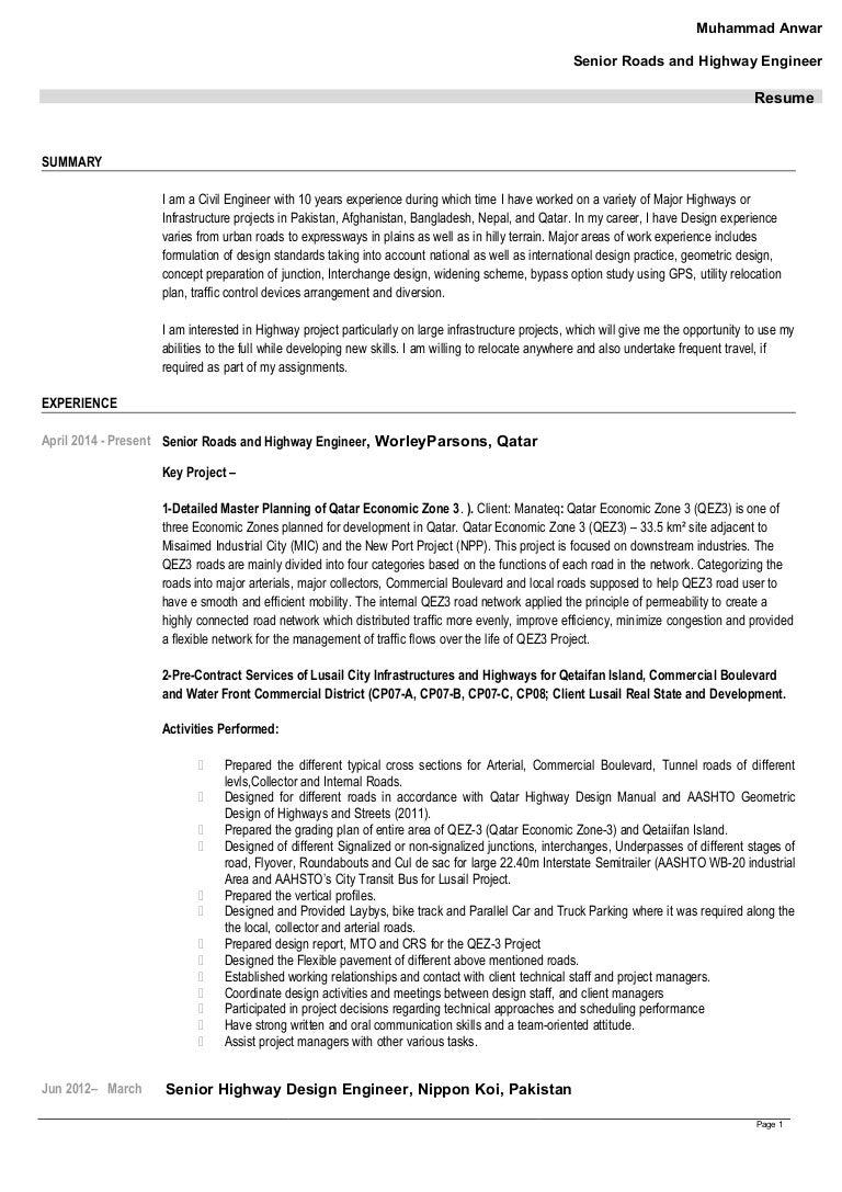 Resume Highway Engineer Resume cv updated m anwar